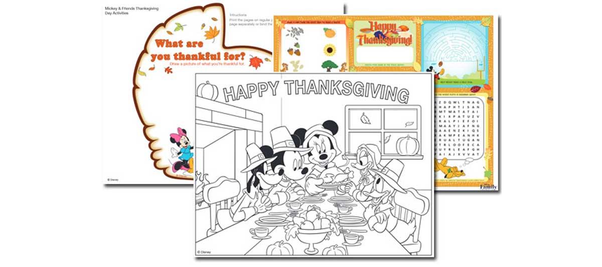 3 Disney Thanksgiving Printables {Free}