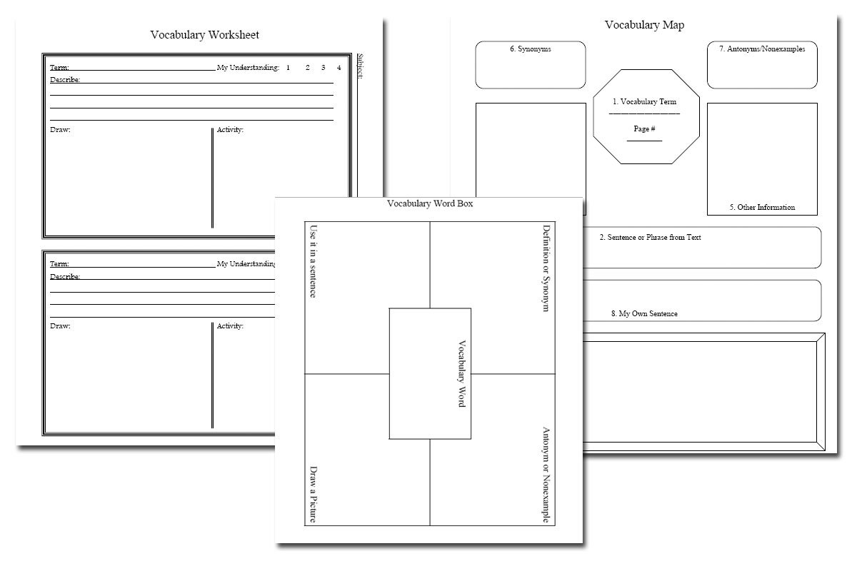 Vocabulary Notebook Pages {Free}